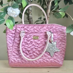 🆕 Betsey Johnson Rose Pink Star Quilted Tote Bag